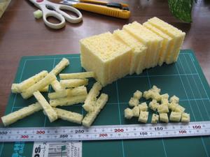 洗車スポンジ濾材の製作状況